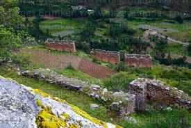 Part of defensive wall and buildings below Inca site of Pumamarca, Patacancha Valley, Cusco Region, Peru
