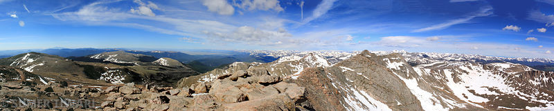 Another wider panorama of Mt Evans and Mt Spalding from the summit of Mt Evans