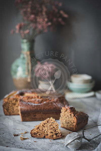 Banana cake on a marble kitchen worktop