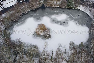Aerial view of snow