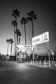 Newport Beach Auto Ferry Sign Black and White Photo