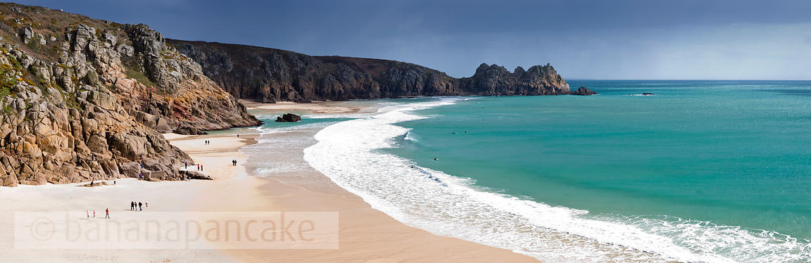 Panoramic view of the Logan Rock and Porthcurno beach, Cornwall - BP0955