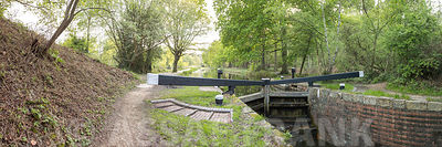 Canal lock through forest