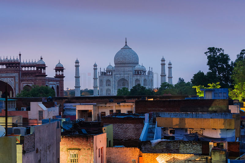 Elevated View of the Taj Mahal at Dawn
