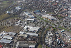 Widnes high level aerial photograph looking across old disused industrial land looking across from Fiddlers Ferry road toward...