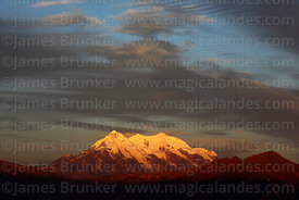 Mt Illimani at sunset, Cordillera Real, Bolivia