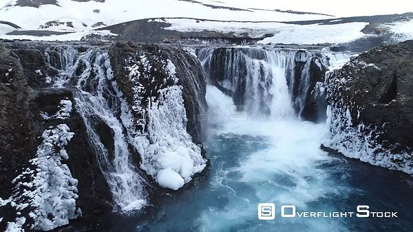 Drone Video Waterfall and Ice Iceland