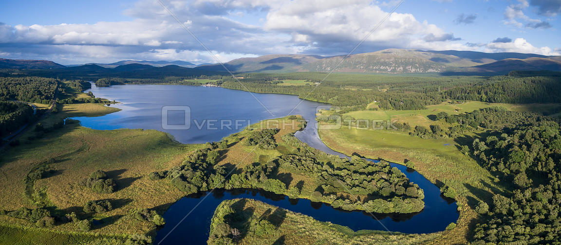River Spey meandering through Insh Marshes into Loch Insh, Cairngorms National Park, Scotland, UK, August 2016.