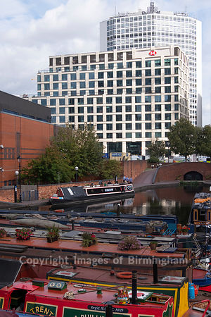 HSBC Headquarters in central Birmingham, England, viewed from Gas Street Basin.