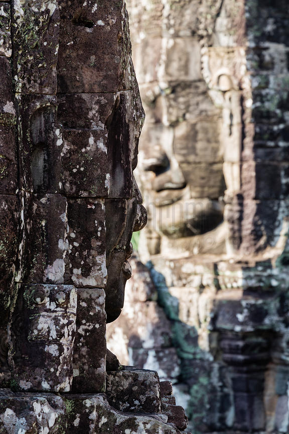 Stone Carved Heads at the Bayon Temple