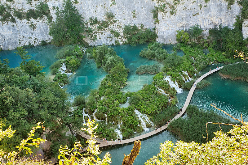 Looking down gorge at boardwalk over river, Plitvice Lakes National Park, Croatia.
