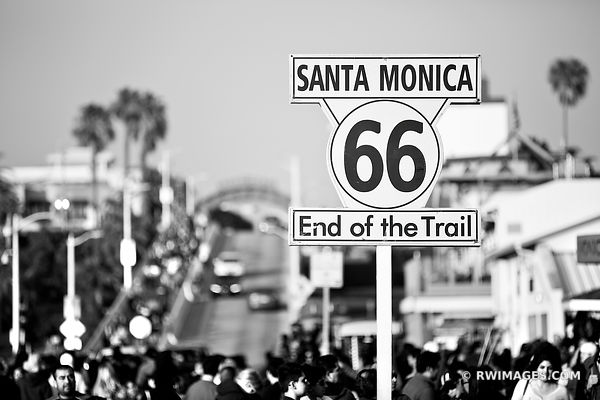 END OF ROUTE 66 SANTA MONICA CALIFORNIA BLACK AND WHITE