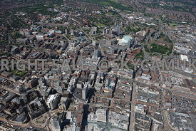 Leeds high level aerial view of the City Centre looking towards the First Direct Arena