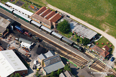 aerial photograph of Haven Street Station on the  the  Isle of Wight Steam Railway England UK