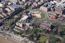 Chester high level aerial view of the Roman Amphitheatre and The Church of St John the Baptist Grosvenor Park