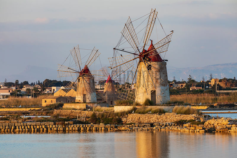 Saline and Windmills at the Laguna dello Stagnone at Sunset
