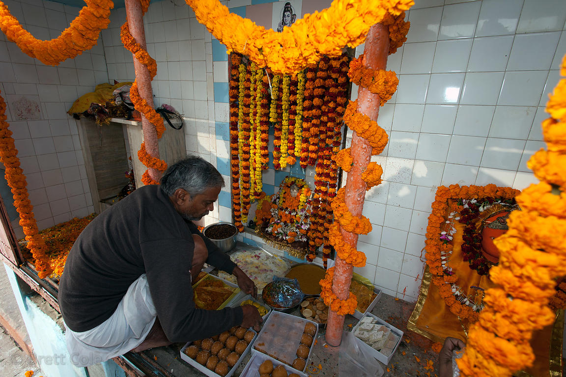 Celebration at a temple to the Goddess Ganga, on World Ganges Day, Varanasi, India.