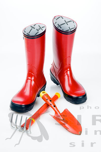Wellington boots with gardening tools