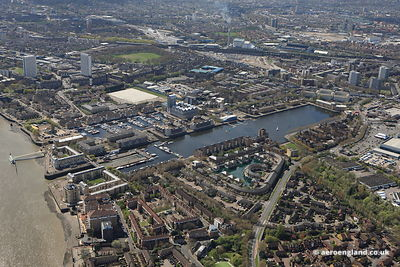 aerial photograph of Greenland Dock Rotherhithe London England UK