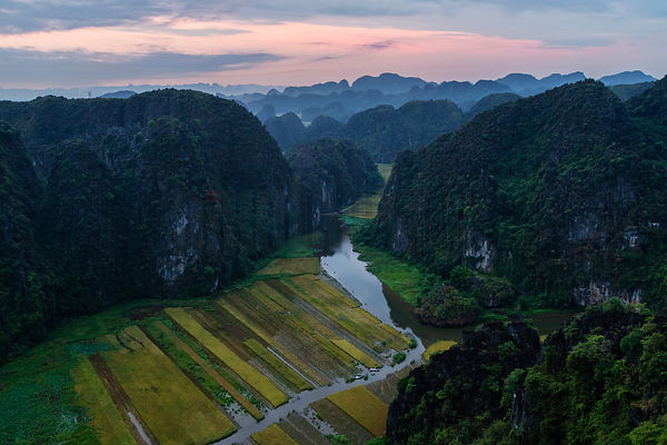 Rice Paddies and Limestone Hills from the Ton Coc Viewpoint
