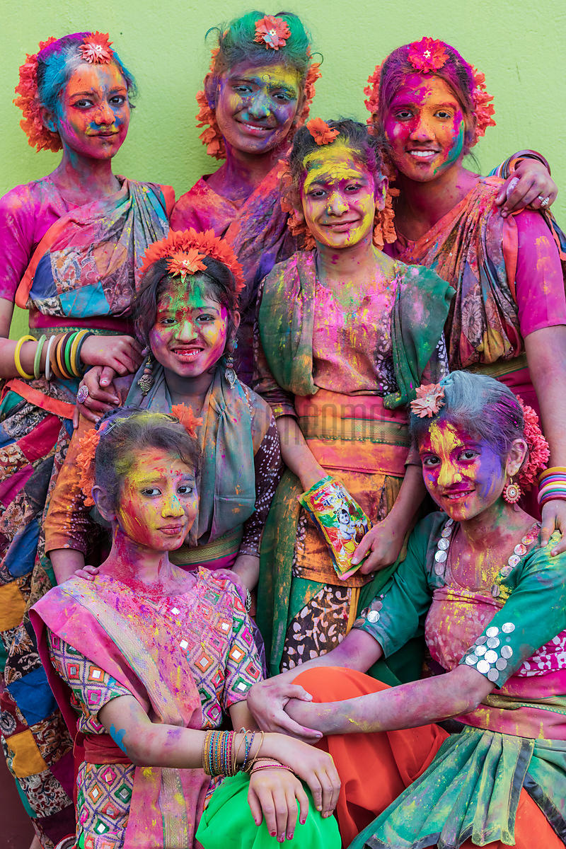 A Group of Girls Playing Holi at Golf Green Park in South Calcutta