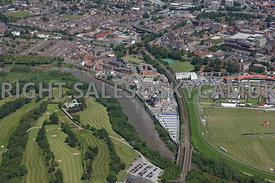 Chester high level aerial view looking from south of the river Dee up the main railway line into the Westgate area of Chester...