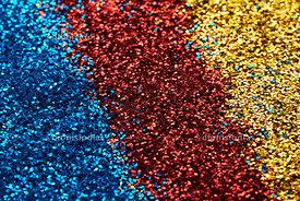 Glitter background in 3 colors, blue, red and golden