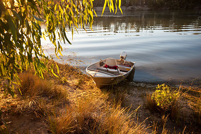 Boat on Murray River, Wentworth, NSW, Australia.