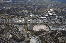 Rochdale high level aerial photograph looking down Edinburgh Way towards Junction 20 on the M62 motoway