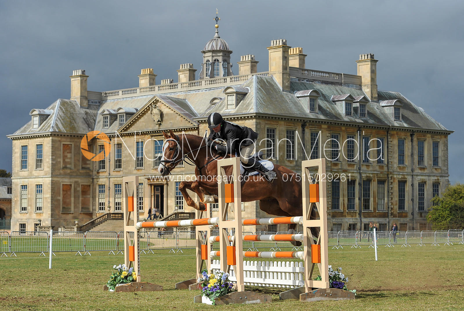 Show jumping in front of Belton House - Belton Horse Trials