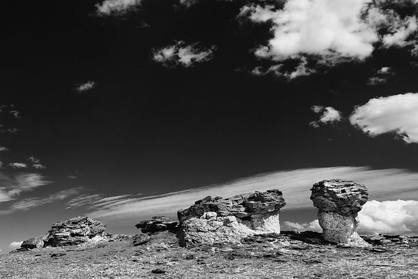 ROCK FORMATIONS HIGH TUNDRA ROCKY MOUNTAIN NATIONAL PARK COLORADO BLACK AND WHITE