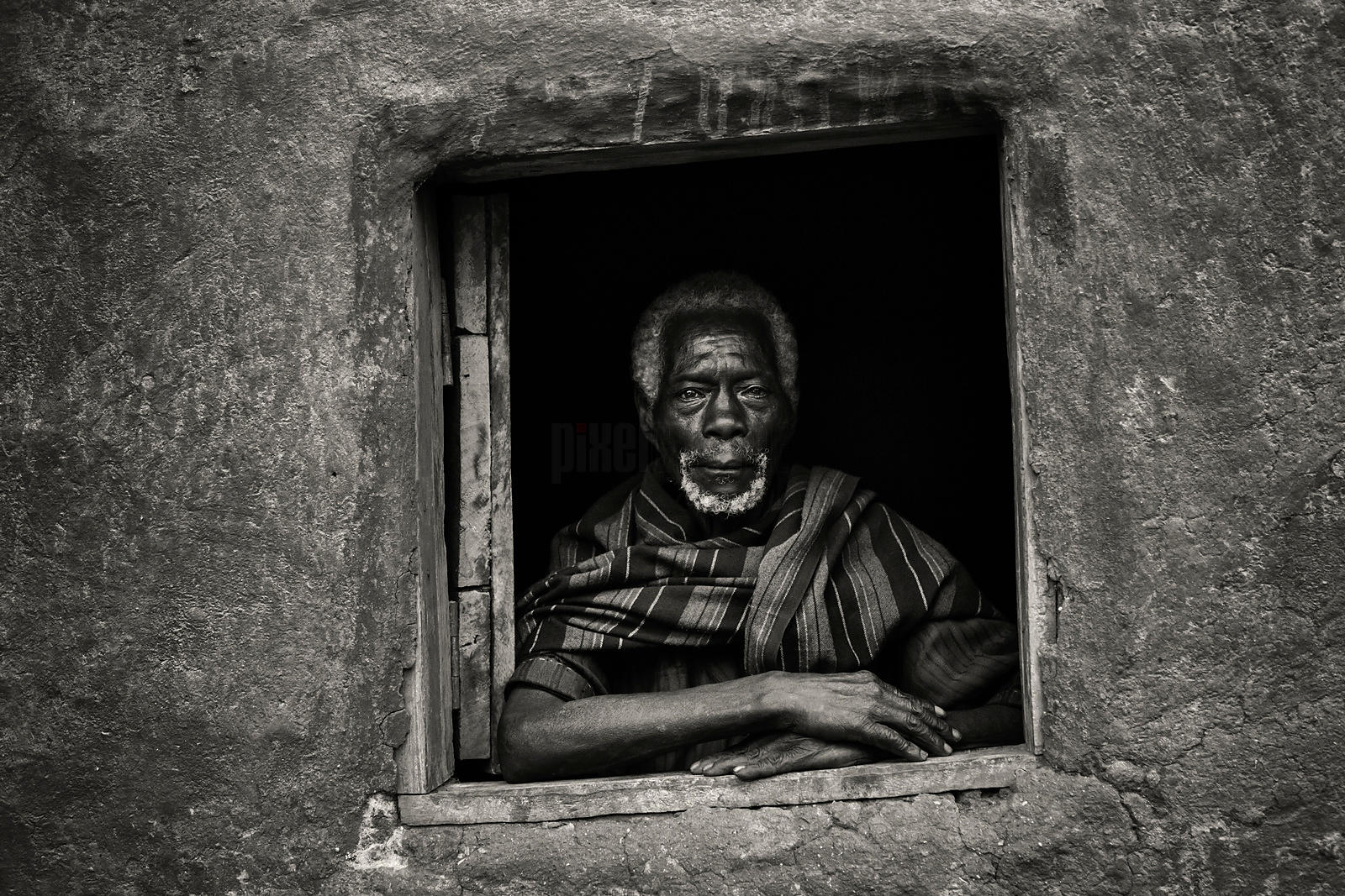 Portrait of an Elderly Ari Man in a Window of his Home