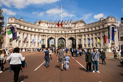Admiralty Arch on a day The Mall is closed to traffic.
