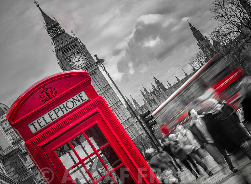 London Houses of Parliment telephone box and stormy clouds