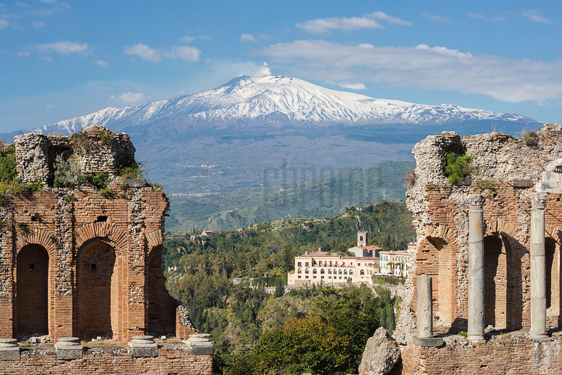 View of Mt Etna form the Ancient Greek Temple