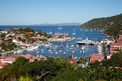 View across Gustavia Harbour, Saint Barthelemy, Caribbean, December 2011.