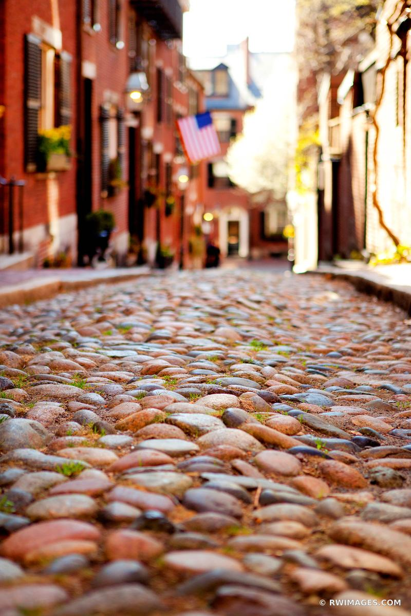 HISTORIC BOSTON BEACON HILL ACORN STREET COBBLESTONE STREET RED BRICK COLOR VERTICAL
