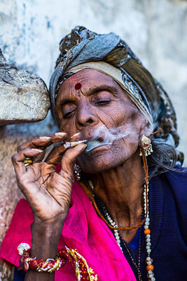 Udaipur 2015 'Smoking Lady'  Photographer Neil Emmerson