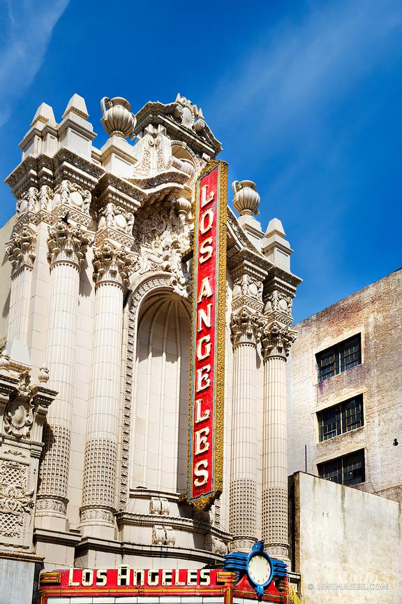 HISTORIC THEATRE DOWNTOWN LOS ANGELES CALIFORNIA ARCHITECTURE COLOR VERTICAL