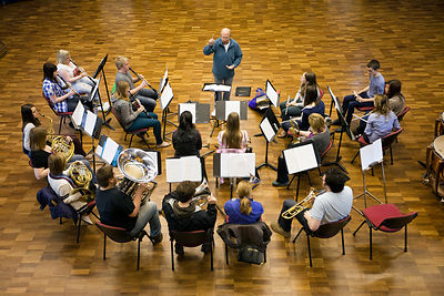 UK - Scunthorpe - Andrew Garbutt, Head of Music at the John Leggot Centre conducts members of the Youth Concert Band during r...