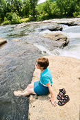 Female Visitor Cools Off Along Youghiogheny River- Ohiopyle, PA (V)