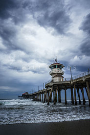 Huntington Beach Pier with Storm Clouds