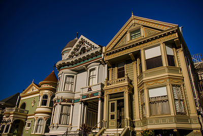 "These victorian houses line the perimeter of Alamo Square in San Francisco.  These ""painted ladies"" were showcased in the ope..."