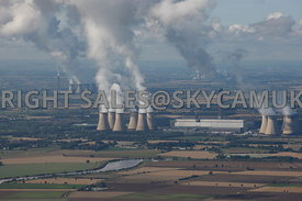 Yorkshire aerial photographs of the Power Stations Drax's and Eggborough and Ferrybridge Stations and Steam plumes rising fro...