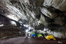 Pedal boats on lake inside San Pedro Cave, near Sorata, Bolivia