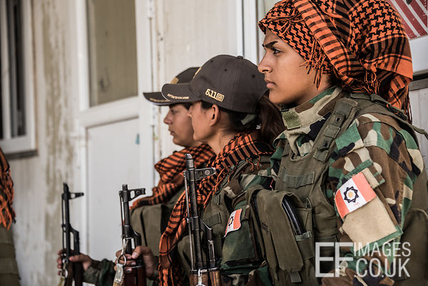PAK (Kurdistan Freedom Party) female fighters at their base north of Hawija, where Kurdish Iranian fighters are holding the l...