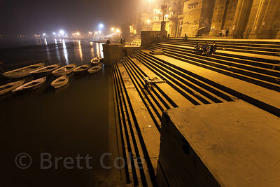 Shadows on the ghats at night, Varanasi, India.