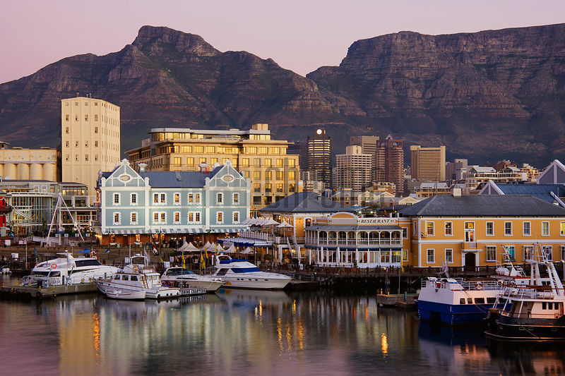 Victoria and Albert Waterfront with Table Mountain at Dusk Cape Town Western Cape South Africa