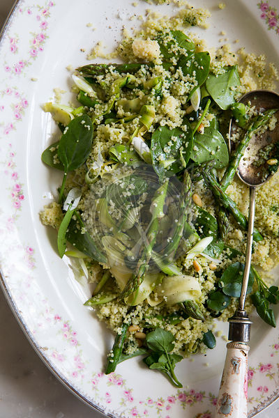 A healthy asparagus, courgette and spinach cous cous salad