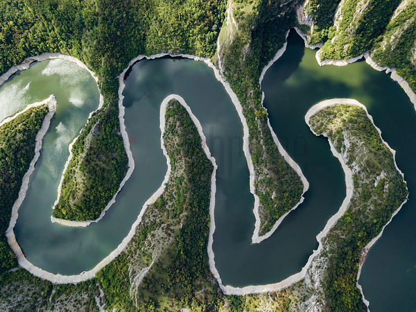 Aerial View of the Goosenecks of the Uvac River Canyon